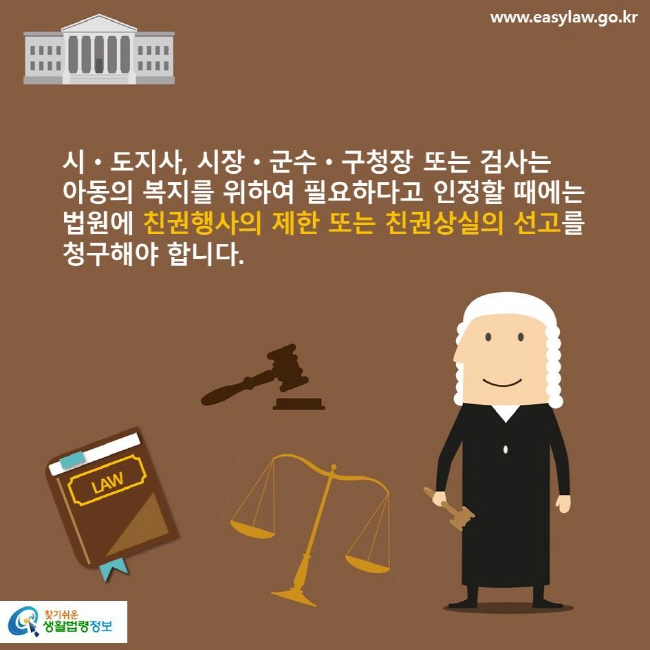 시·도지사, 시장·군수·구청장 또는 검사는 아동의 복지를 위하여 필요하다고 인정할 때에는 법원에 친권행사의 제한 또는 친권상실의 선고를 청구해야 합니다.