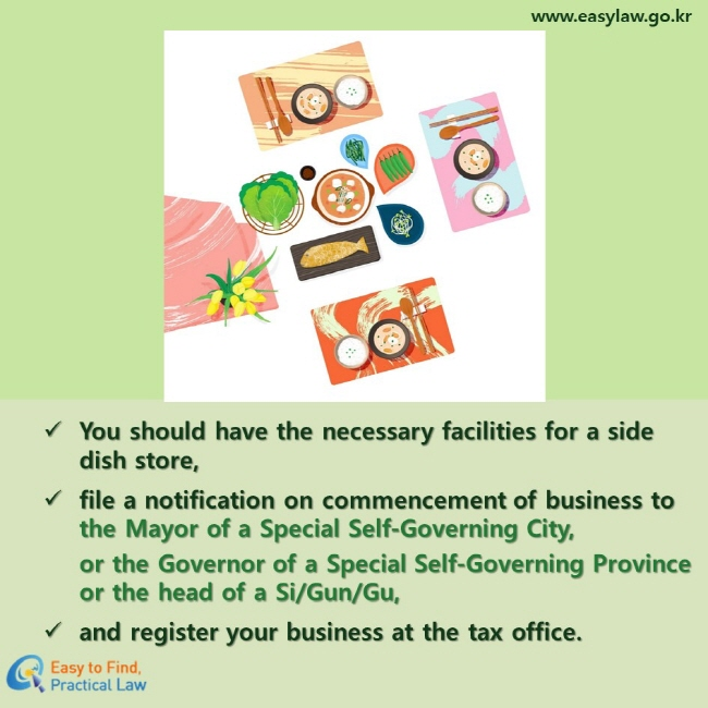 You should have the necessary facilities for a side dish store,  file a notification on commencement of business to the Mayor of a Special Self-Governing City, or the Governor of a Special Self-Governing Province or the head of a Si/Gun/Gu, and register your business at the tax office.