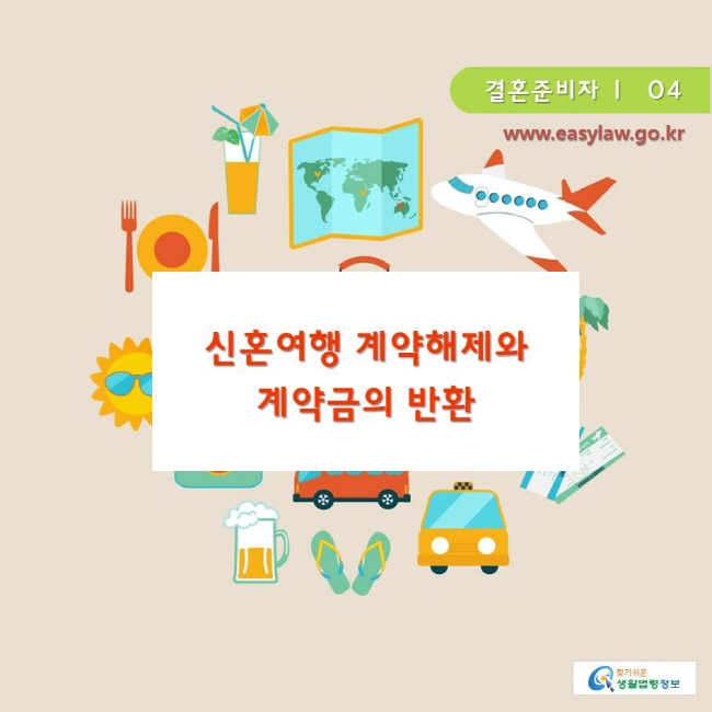 www.easylaw.go.kr 찾기쉬운생활법령정보 결혼준비자 ㅣ  04 신혼여행 계약해제와 계약금의 반환