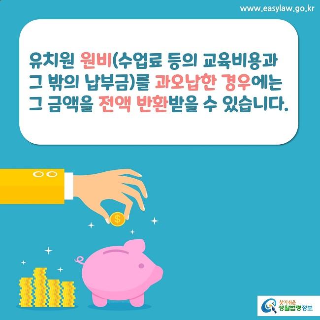 유치원 원비(수업료 등의 교육비용과 그 밖의 납부금)를 과오납한 경우에는그 금액을 전액 반환받을 수 있습니다.