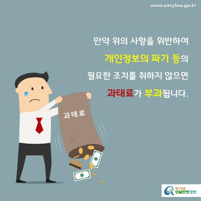 만약 위의 사항을 위반하여 개인정보의 파기 등의  필요한 조치를 취하지 않으면 과태료가 부과됩니다. 과태료