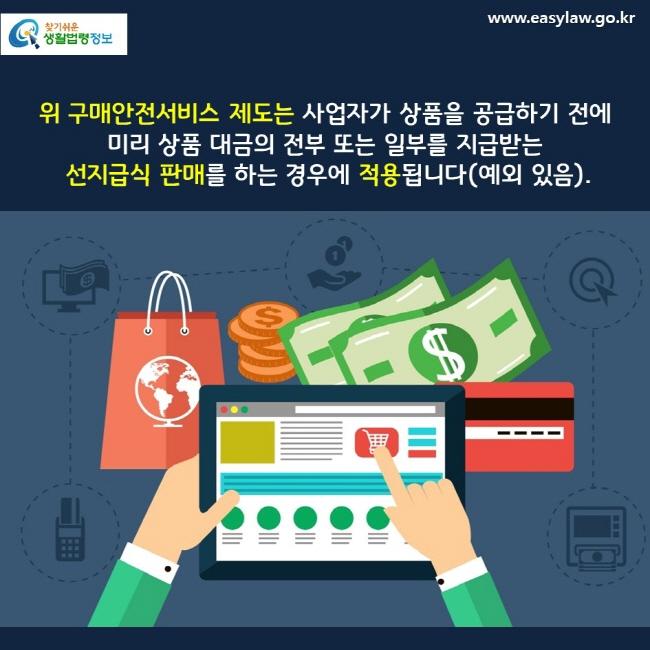 위 구매안전서비스 제도는 사업자가 상품을 공급하기 전에  미리 상품 대금의 전부 또는 일부를 지급받는   선지급식 판매를 하는 경우에 적용됩니다(예외 있음).