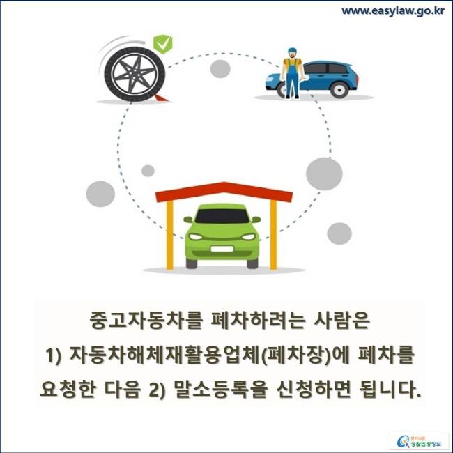 중고자동차를 폐차하려는 사람은 1) 자동차해체재활용업체(폐차장)에 폐차를 요청한 다음 2) 말소등록을 신청하면 됩니다.