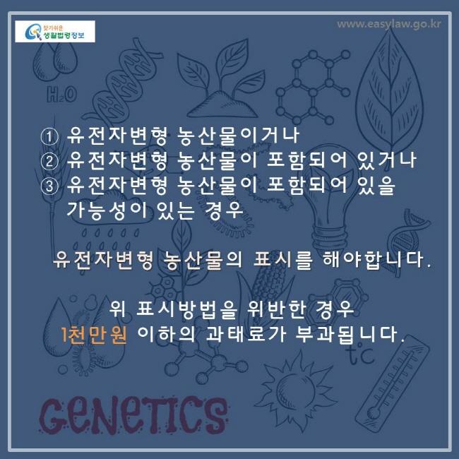 유전자 변형 농산물이거나 유전자 변형 농산물이 포함되어 있거나 유전자 변형 농산물이 포함되어 있을 가능성이 있는 경우 유전자 변형 농산물의 표시를 해야 합니다. 위 표시방법을 위반한 경우 1천마원 이하의 과태료가 부과됩니다.