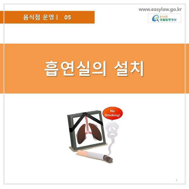 음식점 운영 05, 흡연실의 설치, 찾기쉬운 생활법령정보 로고 www.easylaw.go.kr