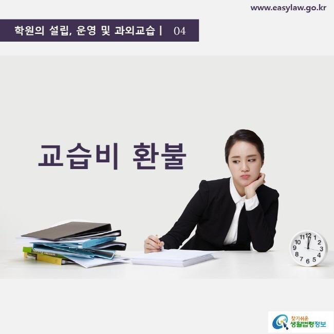 학원의 설립, 운영 및 과외교습ㅣ  04 교습비 환불 www.easylaw.go.kr 찾기 쉬운 생활법령정보 로고