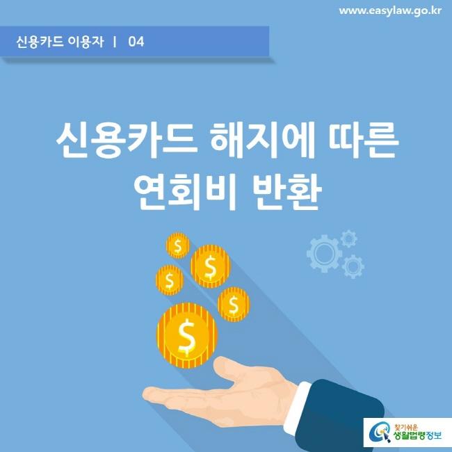 신용카드 이용자 ㅣ  04  www.easylaw.go.kr  신용카드 해지에 따른 연회비 반환  찾기쉬운 생활법령정보 로고