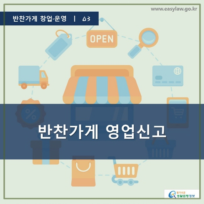 반찬가게 창업·운영 ㅣ 03, 반찬가게 영업신고, www.easylaw.go.kr, 찾기 쉬운 생활법령 정보 로고