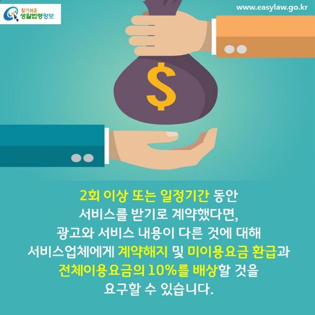 2회 이상 또는 일정기간 동안 서비스를 받기로 계약했다면, 광고와 서비스 내용이 다른 것에 대해 서비스업체에게 계약해지 및 미이용요금 환급과 전체이용요금의 10%를 배상할 것을 요구할 수 있습니다.