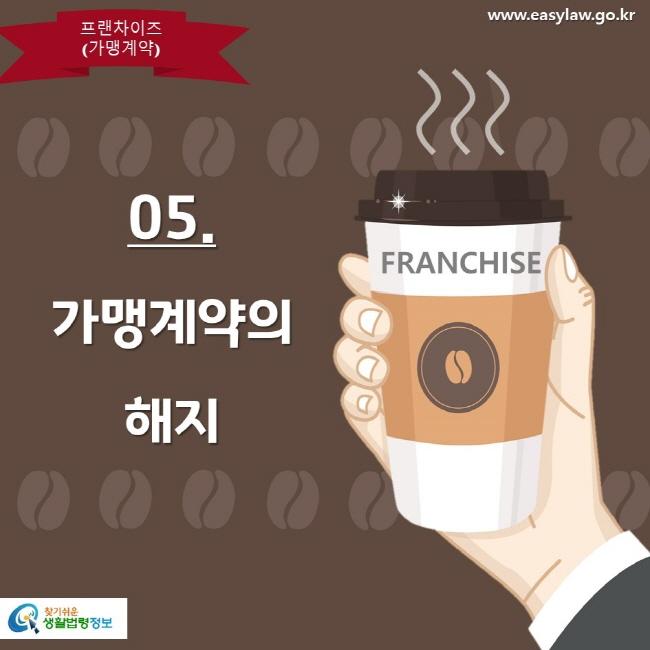 프랜차이즈(가맹계약) www.easylaw.go.kr 05. 가맹계약의 해지 찾기쉬운 생활법령정보
