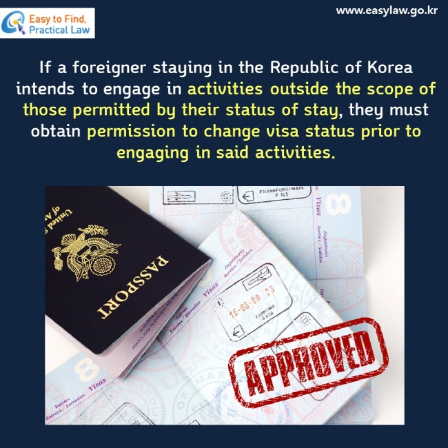 If a foreigner staying in the Republic of Korea intends to engage in activities outside the scope of those permitted by their status of stay, they must obtain permission to change visa status prior to engaging in said activities.