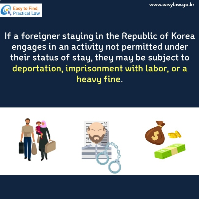 If a foreigner staying in the Republic of Korea engages in an activity not permitted under their status of stay, they may be subject to deportation, imprisonment with labor, or a heavy fine.
