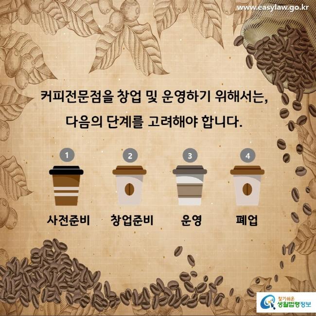 커피전문점을 창업 및 운영하기 위해서는, 다음의 단계를 고려해야 합니다. 1 사전준비 2 창업준비 3 운영 4 폐업