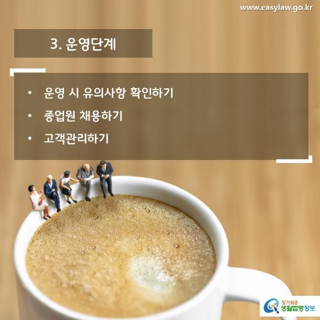 3. 운영단계 운영 시 유의사항 확인하기 종업원 채용하기 고객관리하기