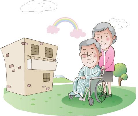요양병원과 휠체어를 탄 노인의 그림