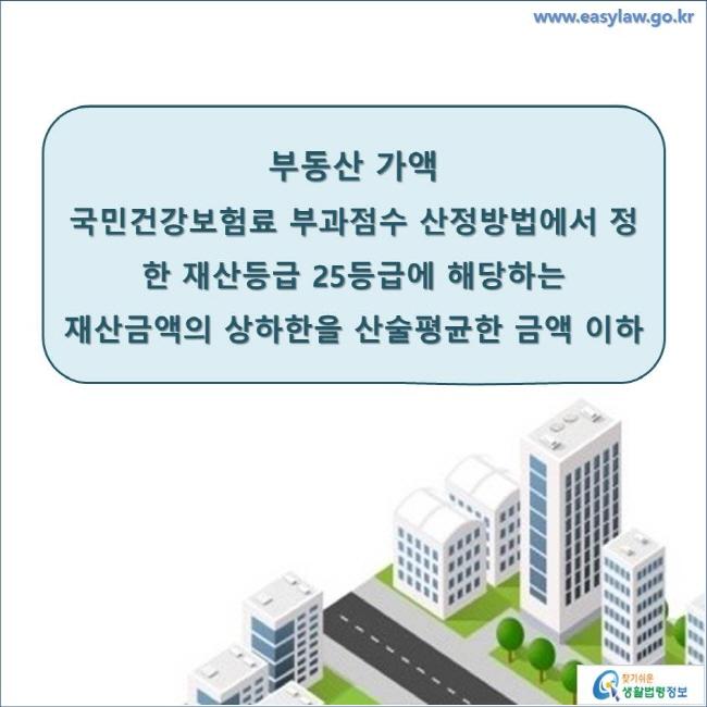 부동산 가액 국민건강보험료 부과점수 산정방법에서 정한 재산등급 25등급에 해당하는 재산금액의 상하한을 산술평균한 금액 이하 www.easylaw.go.kr 찾기 쉬운 생활법령정보 로고