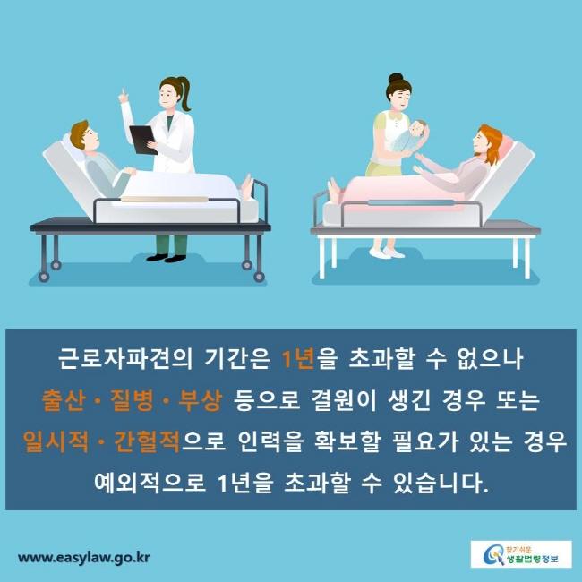 근로자파견의 기간은 1년을 초과할 수 없으나 출산ㆍ질병ㆍ부상 등으로 결원이 생긴 경우 또는 일시적ㆍ간헐적으로 인력을 확보할 필요가 있는 경우 예외적으로 1년을 초과할 수 있습니다.