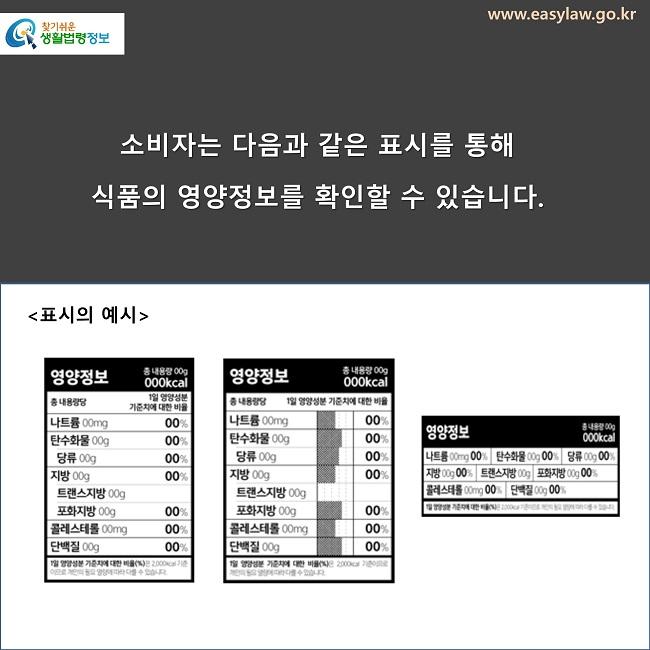 소비자는 다음과 같은 표시를 통해  식품의 영양정보를 확인할 수 있습니다. 표시의 예시
