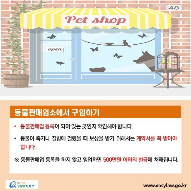 동물판매업소에서 구입하기, • 동물판매업 등록이 되어 있는 곳인지 확인해야 합니다., • 동물이 죽거나 질병에 걸렸을 때 보상을 받기 위해서는 계약서를 꼭 받아야 합니다. ※ 동물판매업 등록을 하지 않고 영업하면 500만원 이하의 벌금에 처해집니다.