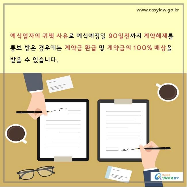 www.easylaw.go.kr 찾기쉬운생활법령정보 예식업자의 귀책 사유로 예식예정일 90일전까지 계약해제를 통보 받은 경우에는 계약금 환급 및 계약금의 100% 배상을 받을 수 있습니다.