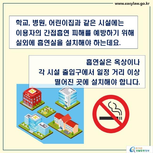 학교, 병원, 어린이집과 같은 시설에는 이용자의 간접흡연 피해를 예방하기 위해 실외에 흡연실을 설치해야 하는데요.  흡연실은 옥상이나 각 시설 출입구에서 일정 거리 이상 떨어진 곳에 설치해야 합니다.