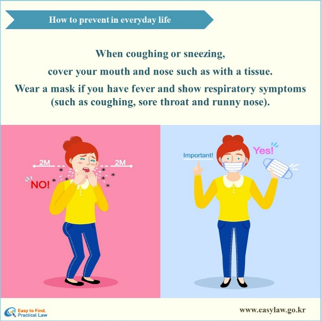 How to prevent in everyday life When coughing or sneezing, cover your mouth and nose such as with a tissue. Wear a mask if you have fever and show respiratory symptoms (such as coughing, sore throat and runny nose).