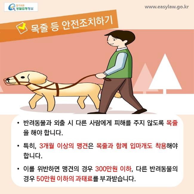 목줄 등 안전조치하기, • 반려동물과 외출 시 다른 사람에게 피해를 주지 않도록 목줄을 해야 합니다. • 특히, 3개월 이상의 맹견은 목줄과 함께 입마개도 착용해야 합니다. • 이를 위반하면 맹견의 경우 300만원 이하, 다른 반려동물의 경우 50만원 이하의 과태료를 부과받습니다.