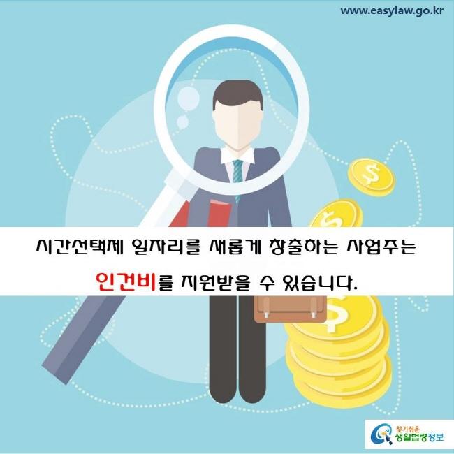 시간선택제 일자리를 새롭게 창출하는 사업주는 고용노동부로부터 인건비를 지원받을 수 있습니다.