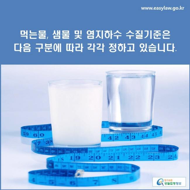 먹는물, 샘물 및 염지하수 수질기준은 다음 구분에 따라 각각 정하고 있습니다.