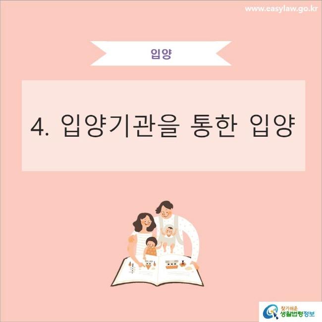 입양 4. 입양기관을 통한 입양 www.easylaw.go.kr 찾기쉬운 생활법령정보 로고