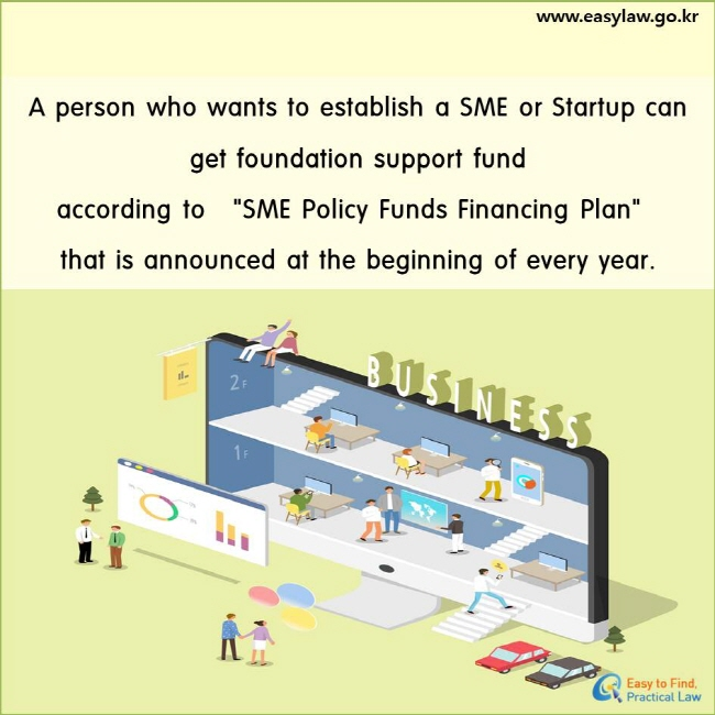"""A person who wants to establish a SME or Startup can get foundation support fund according to """"SME Policy Funds Financing Plan"""" that is announced at the beginning of every year."""