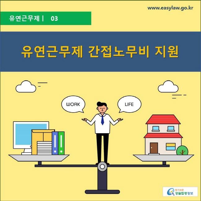 유연근무제 ㅣ 03 유연근무제 간접노무비 지원 www.easylaw.go.kr 찾기 쉬운 생활법령정보