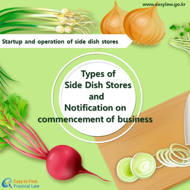Startup and operation of side dish stores Types of Side Dish Stores and Notification on commencement of business  www.easylaw.go.kr Easy to find, Practical law