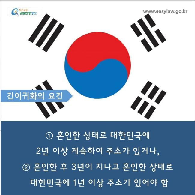 www.easylaw.go.kr  간이귀화의 요건  ① 혼인한 상태로 대한민국에  2 년 이상 계속하여 주소가 있거나 ,  ② 혼인한 후 3 년이 지나고 혼인한 상태로 대한민국에 1 년 이상 주소가 있어야 함