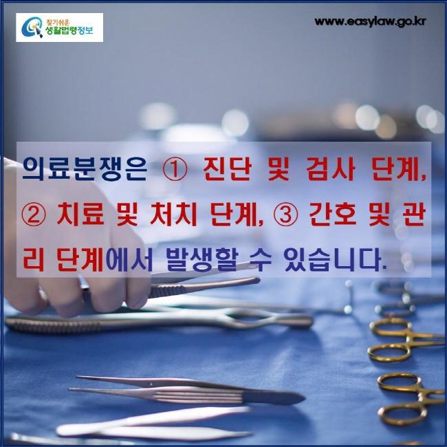 의료분쟁은 ➀ 진단 및 검사 단계, ➁ 치료 및 처치 단계, ➂ 간호 및 관리 단계에서 발생할 수 있습니다.