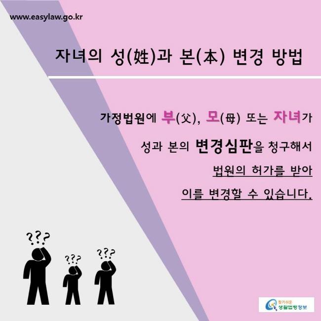 찾기쉬운생활법령정보 www.easylaw.go.kr  자녀의 성(姓)과 본(本) 변경 방법  가정법원에 부(父), 모(母) 또는 자녀가 성과 본의 변경심판을 청구해서 법원의 허가를 받아 이를 변경할 수 있습니다.