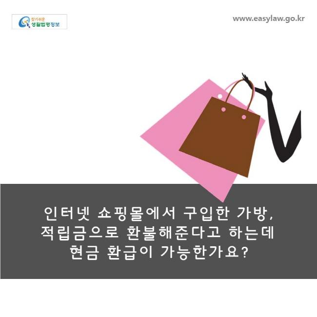 인터넷 쇼핑몰에서 구입한 가방, 적립금으로 환불해준다고 하는데 현금 환급이 가능한가요?