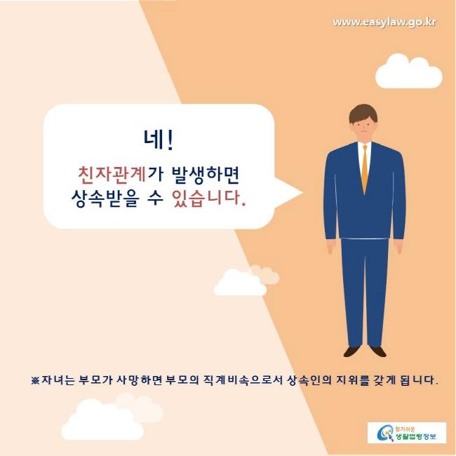 찾기쉬운생활법령정보 www.easylaw.go.kr  네! 친자관계가 발생하면 상속받을 수 있습니다.  ※자녀는 부모가 사망하면 부모의 직계비속으로서 상속인의 지위를 갖게 됩니다.