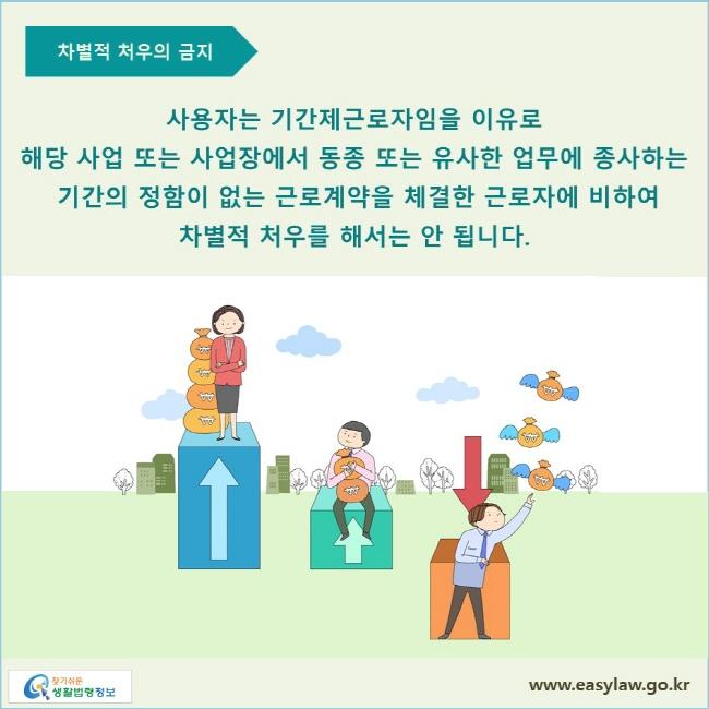 사용자는 기간제근로자임을 이유로 해당 사업 또는 사업장에서 동종 또는 유사한 업무에 종사하는 기간의 정함이 없는 근로계약을 체결한 근로자에 비하여 차별적 처우를 해서는 안 됩니다.