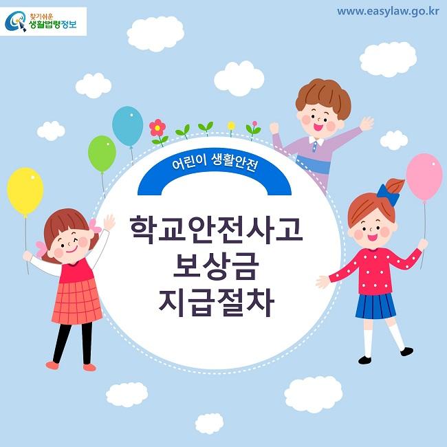 찾기쉬운 생활법령정보 로고 www.easylaw.go.kr 어린이 생활안전 학교안전사고 보상금 지급절차