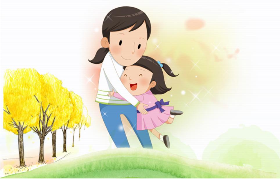 나무잎이 노랗게 물든 초원에서 여자아이가 엄마 품으로 환하게 웃으며 뛰어들고 있음