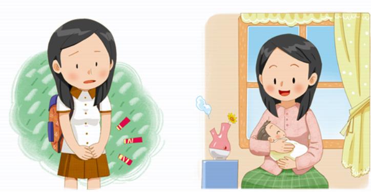 왼쪽엔 가방을 메고 교복을 입은 여학생이 고민있는 얼굴로 서 있고, 오른쪽엔 엄마가 아기를 안고 있음