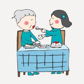 딸 또는 며느리가 어머니의 식사 수발을 들고 있는 모습니다.