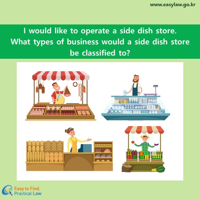 I would like to operate a side dish store. What types of business would a side dish store be classified to?