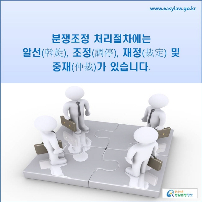 분쟁조정 처리절차에는 알선, 조정, 재정 및 중재가 있습니다.