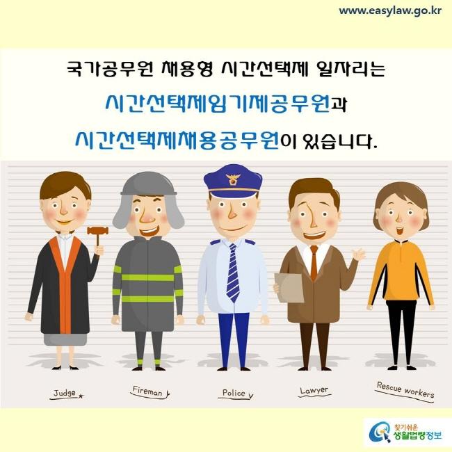 국가공무원 채용형 시간선택제 일자리는 시간선택제임기제공무원과 시간선택제채용공무원이 있습니다.