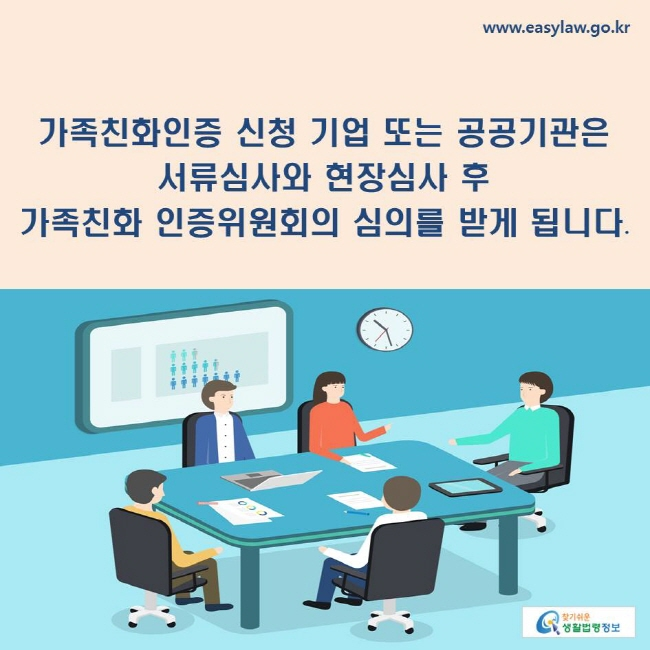 가족친화인증 신청 기업 또는 공공기관은 서류심사와 현장심사 후 가족친화 인증위원회의 심의를 받게 됩니다.