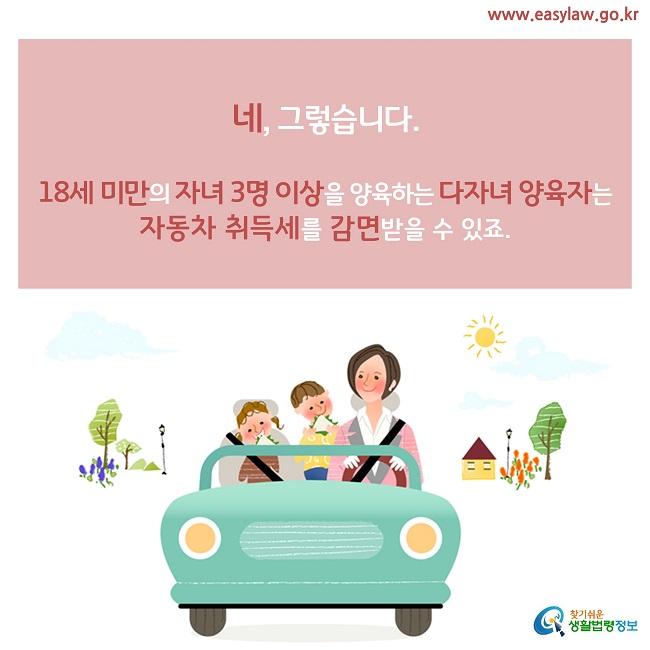 네, 그렇습니다.  18세 미만의 자녀 3명 이상을 양육하는 다자녀 양육자는 자동차 취득세를 감면받을 수 있죠.