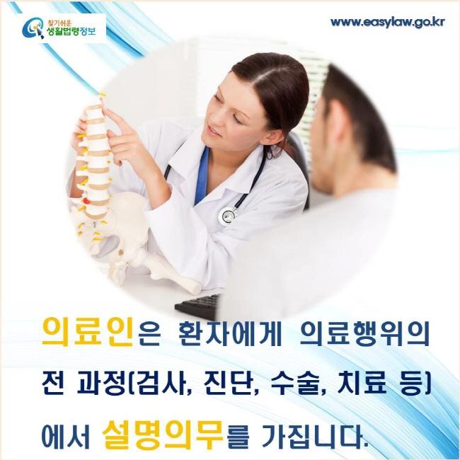 의료인은 환자에게 의료행위의 전 과정(검사, 진단, 수술, 치료 등)에서 설명의무를 가집니다.