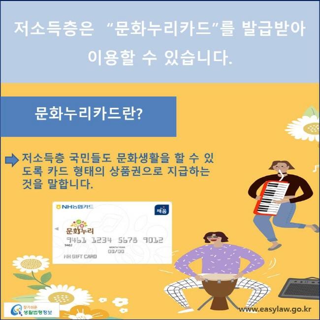 저소득층 국민들도 문화생활을 할 수 있도록 카드 형태의 상품권으로 지급하는 것을 말합니다.